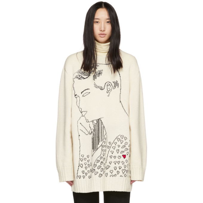 Image of Calvin Klein 205W39NYC Off-White Seated Male Nude Torso Sweater