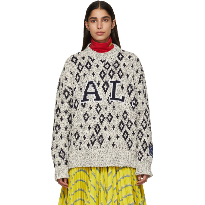 Image of Calvin Klein 205W39NYC Off-White and Navy Yale Edition University Sweater