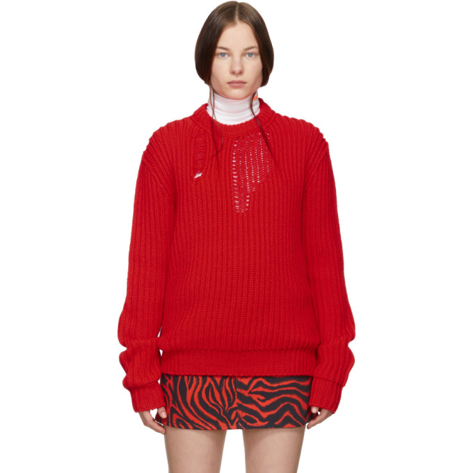 Image of Calvin Klein 205W39NYC Red Technical Knit Sweater