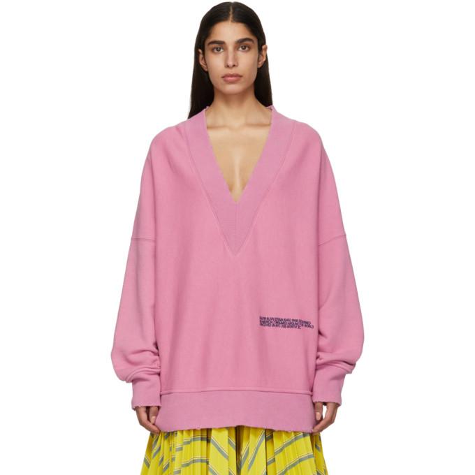 Image of Calvin Klein 205W39NYC Purple Oversized V-Neck Sweatshirt