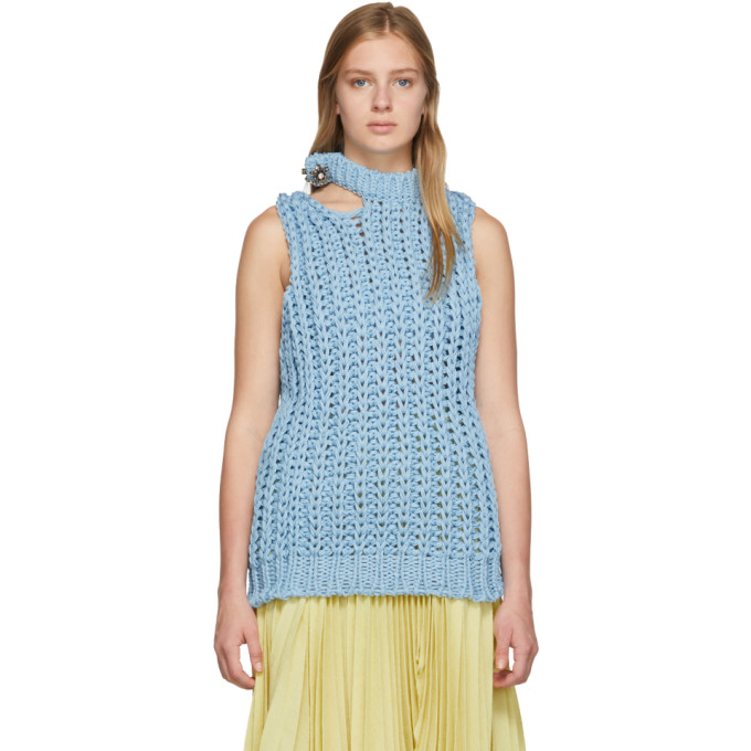 Image of Calvin Klein 205W39NYC Blue Lightweight Knit Vest