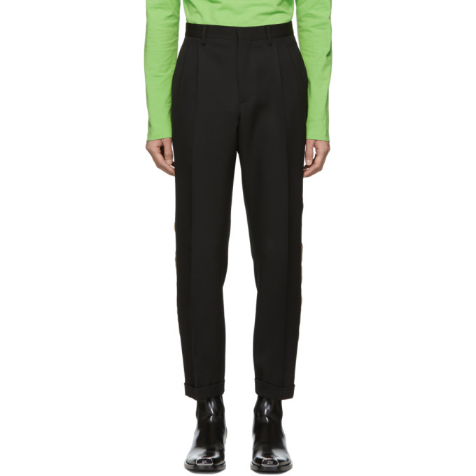 Image of Calvin Klein 205W39NYC Black Stripe Classic Straight-Leg Uniform Trousers