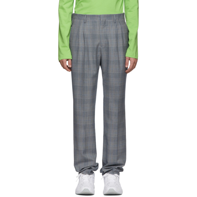 Image of Calvin Klein 205W39NYC White and Navy Glen Plaid Trousers