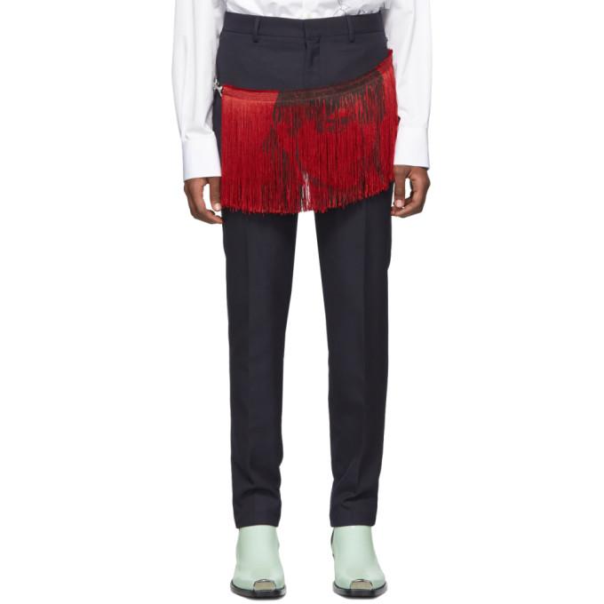 CALVIN KLEIN | Calvin Klein 205W39NYC Navy Stephen Sprouse Fringe Cigarette Trousers | Goxip