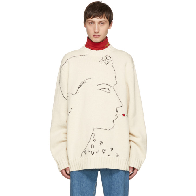 Image of Calvin Klein 205W39NYC Off-White 'Oh Boy' Sweater