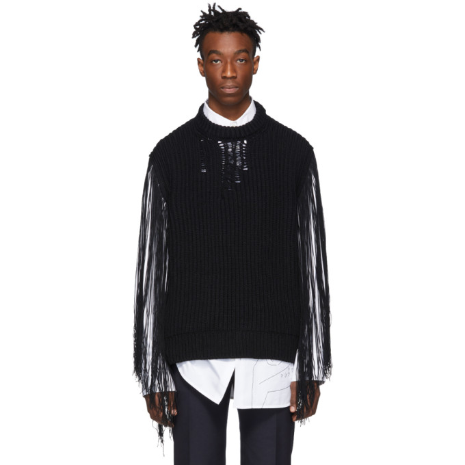 Image of Calvin Klein 205W39NYC Black Fringe Sweater