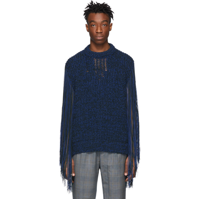 CALVIN KLEIN | Calvin Klein 205W39NYC Green And Blue Fringe Sweater | Goxip