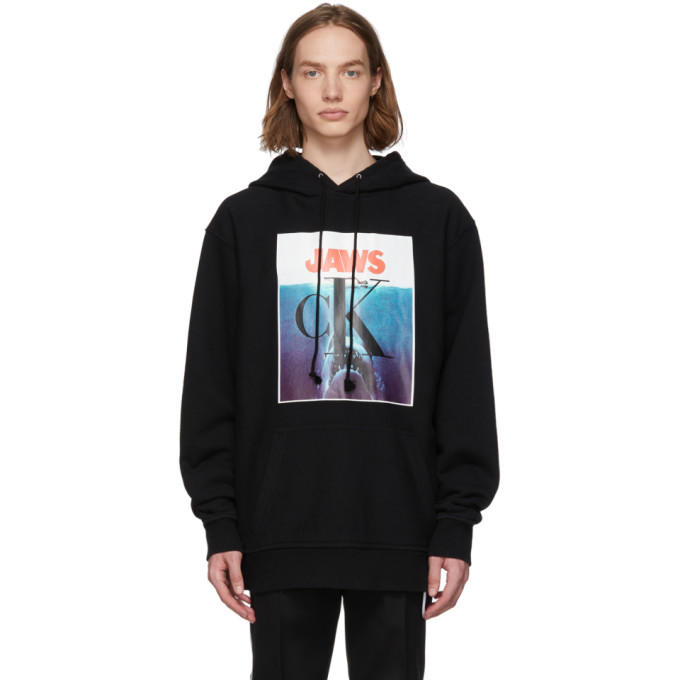 Image of Calvin Klein 205W39NYC Black 'Jaws' 1975 Boxy Hoodie