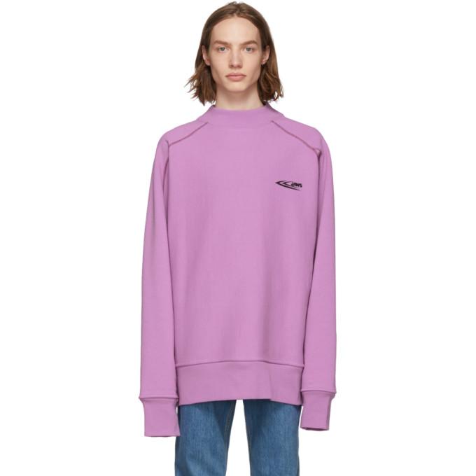 Calvin Klein 205W39NYC パープル Scuba モック ネック スウェットシャツ