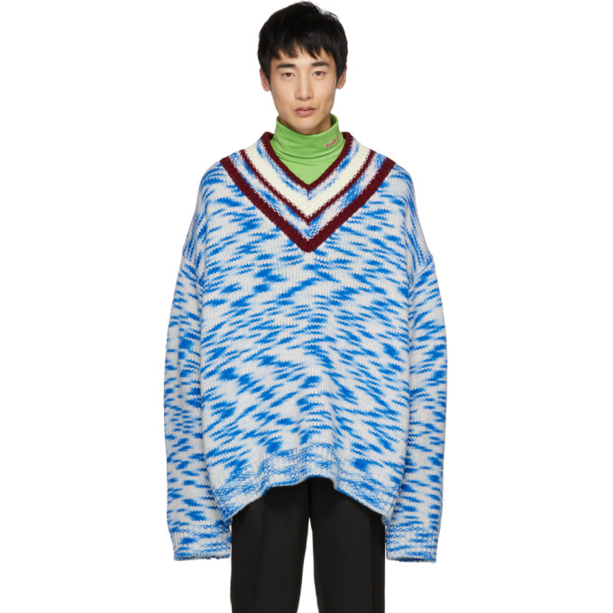 128307be0d Calvin Klein 205W39Nyc Oversized V-Neck Printed Sweater - Multicolour
