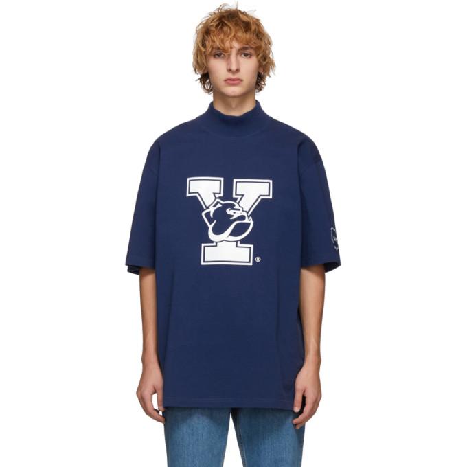 Image of Calvin Klein 205W39NYC Blue Yale Oversized Mock Neck T-Shirt