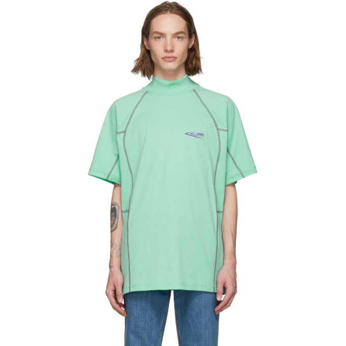 Image of Calvin Klein 205W39NYC Green Scuba Mock Neck T-Shirt