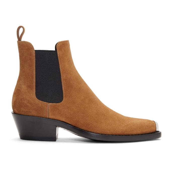 Image of Calvin Klein 205W39NYC Tan Western Chris Crosta Chelsea Boots