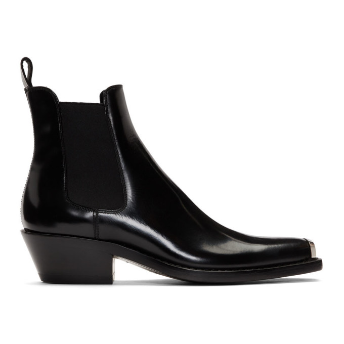 Image of Calvin Klein 205W39NYC Black Western Chris Chelsea Boots