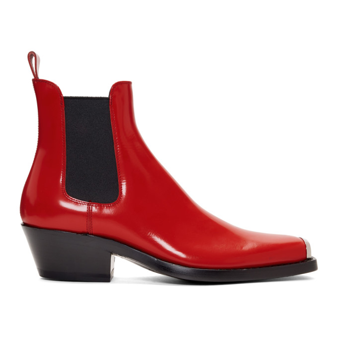 Image of Calvin Klein 205W39NYC Red Western Chris Crosta Chelsea Boots