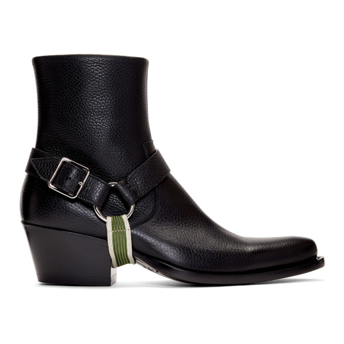 Image of Calvin Klein 205W39NYC Black Tex Harness Boots
