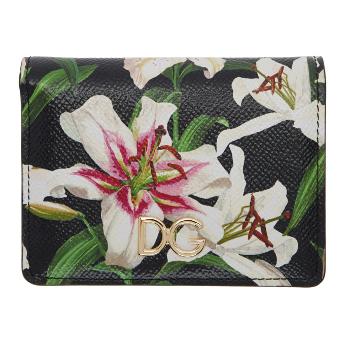 Dolce and Gabbana Black Lily Bifold Wallet