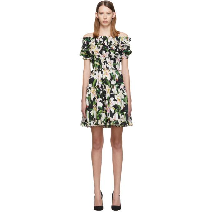 2ba32583 Dolce & Gabbana Off-The-Shoulder Ruffled Floral-Print Cotton-Poplin Dress