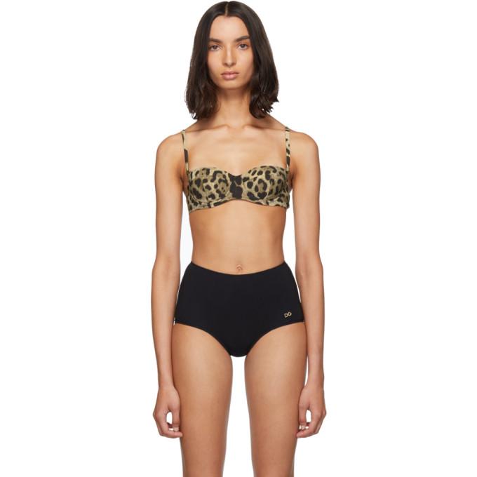 Dolce and Gabbana Haut de bikini brun clair Leopard Print