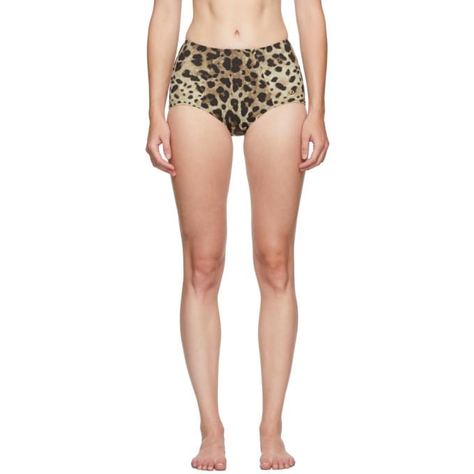 Dolce and Gabbana Culotte de bikini a taille haute et motif leopard brun clair