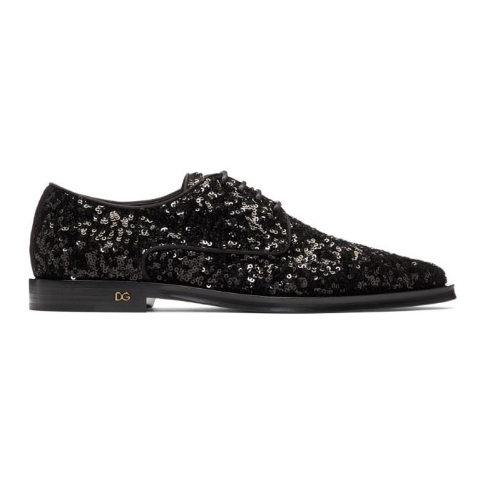 Dolce and Gabbana Black Sequinned Derbys