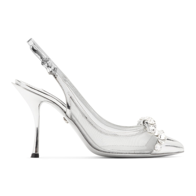 Dolce and Gabbana Silver Mesh Bejewelled Bow Slingback Heels