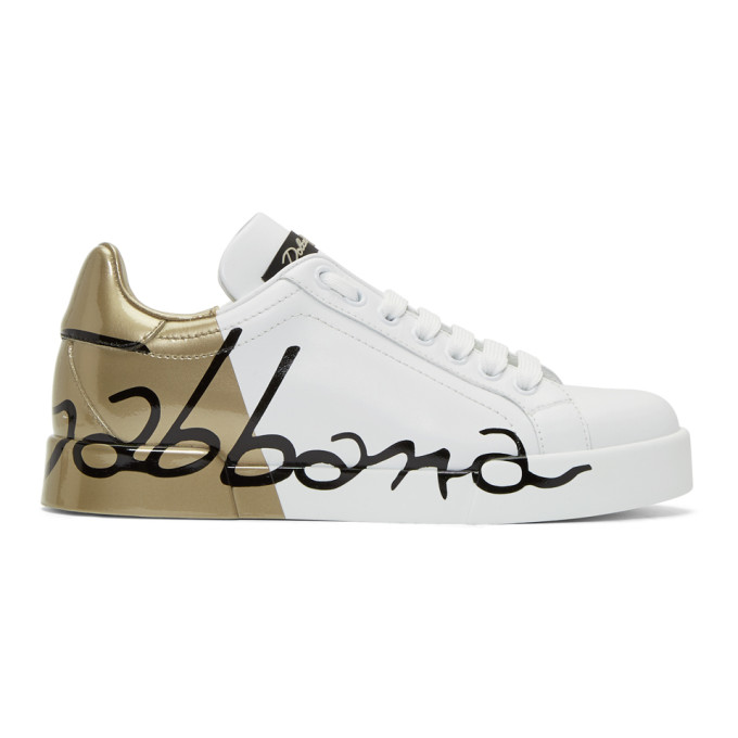 Dolce and Gabbana White and Gold Leather Portofino Sneakers