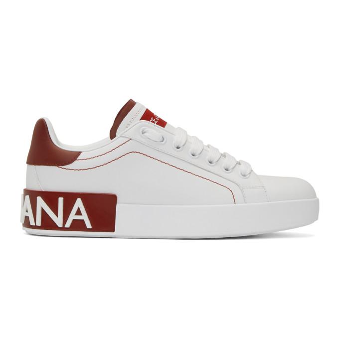 Dolce and Gabbana White and Red Portofino Sneakers