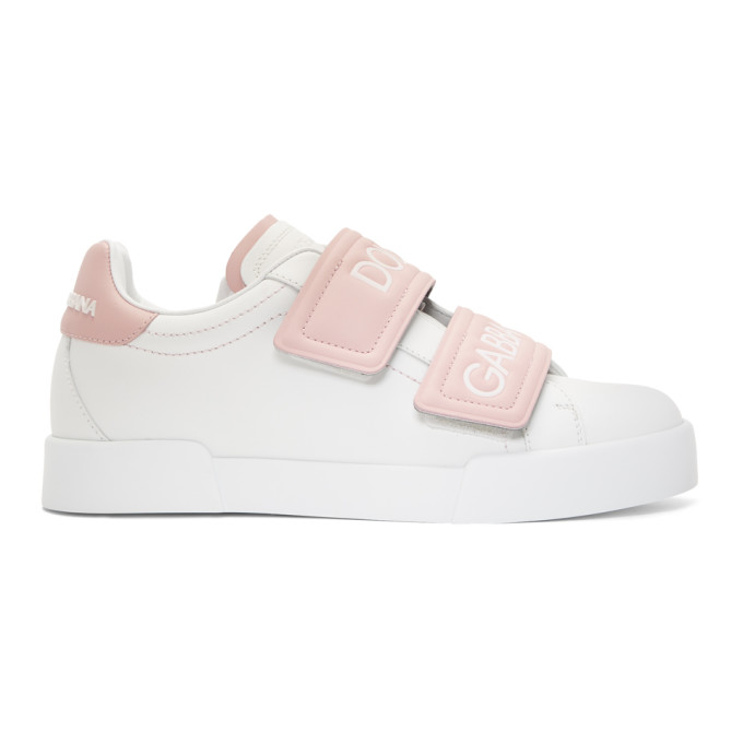 Dolce and Gabbana White and Pink Strap Sneakers