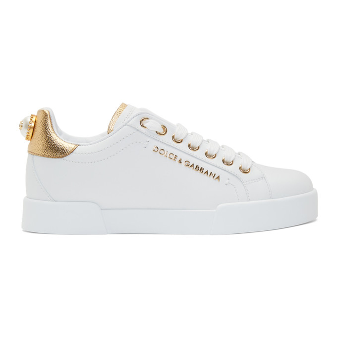Dolce and Gabbana White and Gold Pearl Sneakers