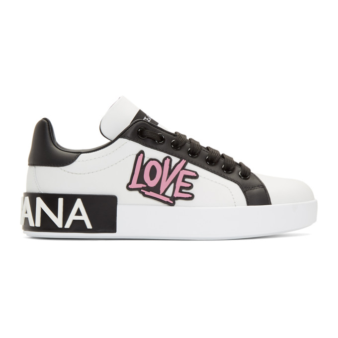 Dolce and Gabbana White Low-Top Love Sneakers