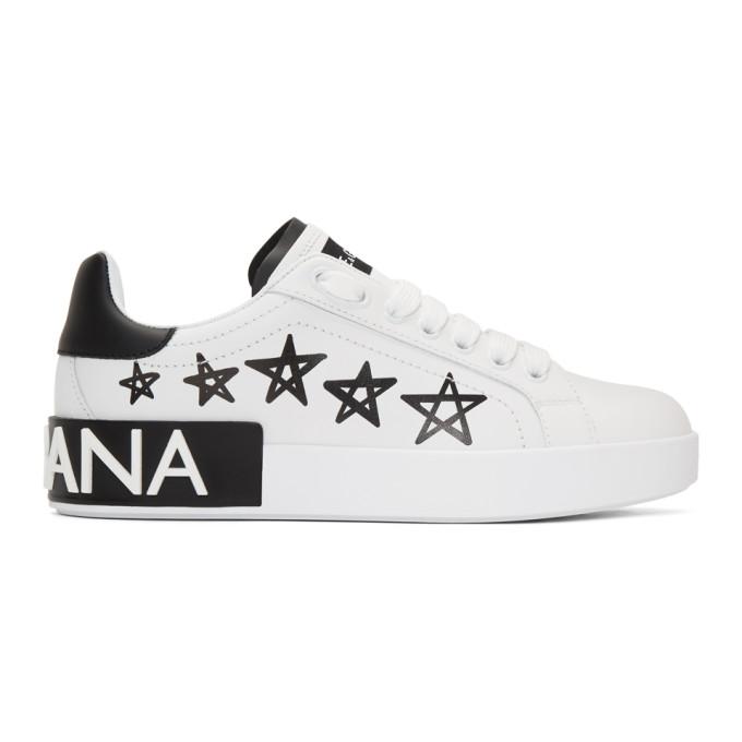 Dolce and Gabbana White Portofino Stars Sneakers