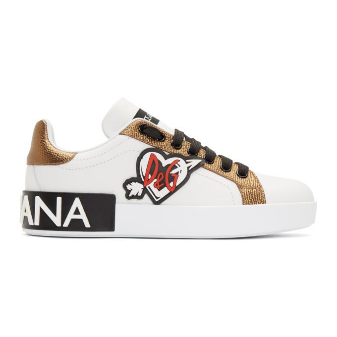 Dolce and Gabbana White Portofino Heart Sneakers