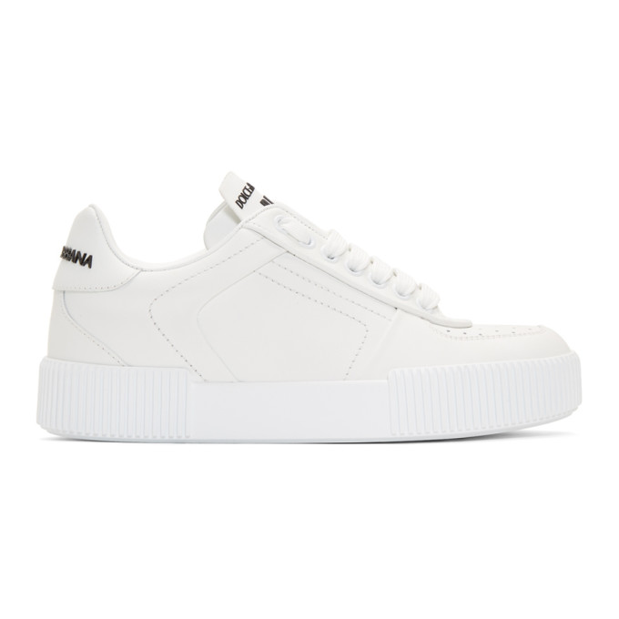 Dolce and Gabbana White Leather Low-Top Sneakers