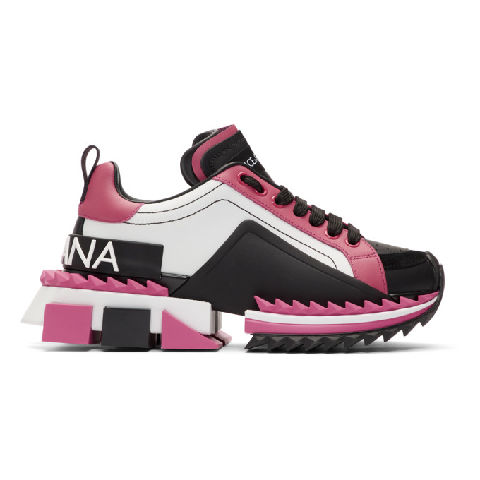 Dolce and Gabbana Pink and Black Super Queen Sneakers