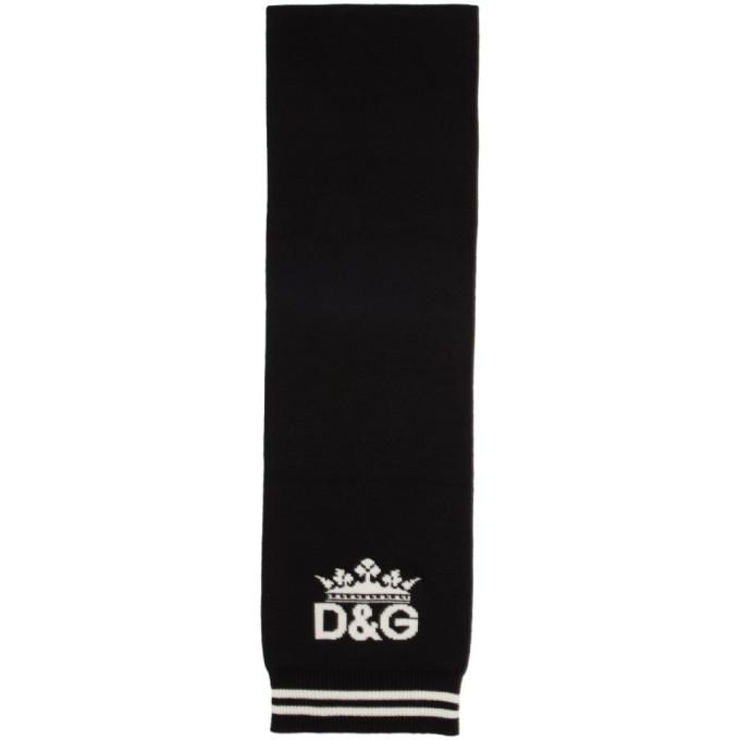 Dolce and Gabbana ブラック カシミア DG クラウン マフラー