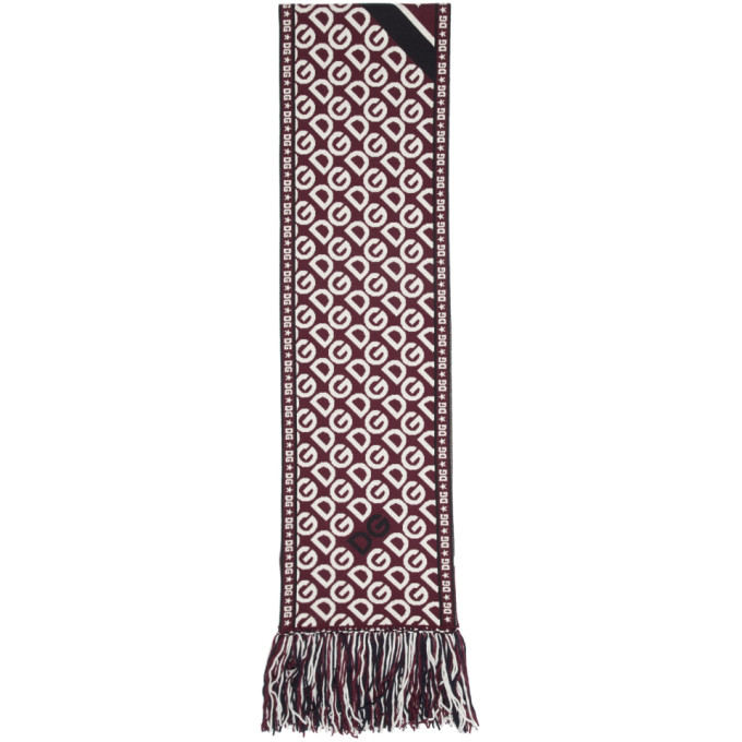 Dolce and Gabbana Red Logo Scarf