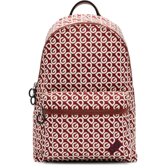 Dolce and Gabbana Burgundy and White Logo Backpack