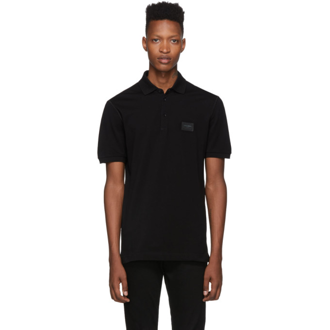 Dolce & Gabbana Tops DOLCE AND GABBANA BLACK PLAQUE POLO