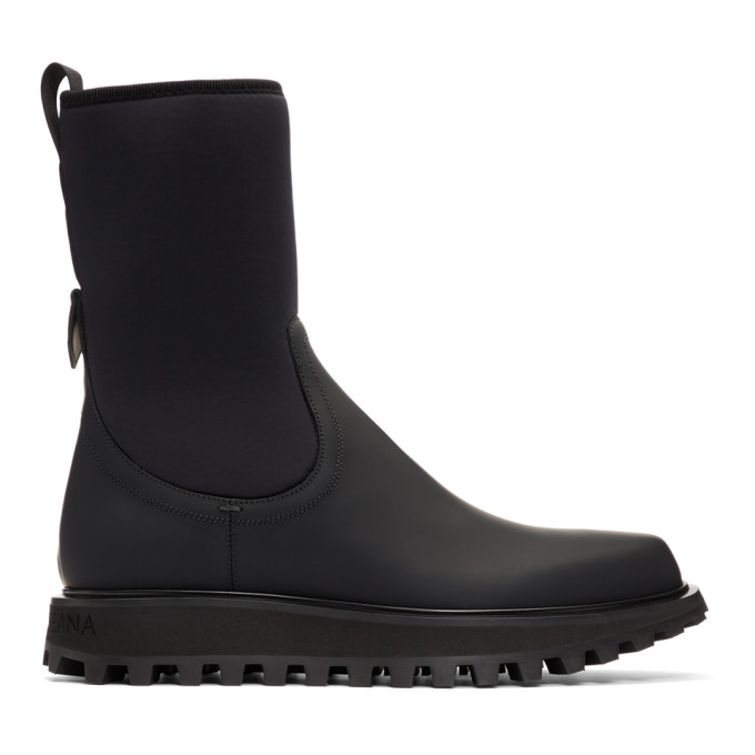 Dolce and Gabbana Black Vulcano Chelsea Boots