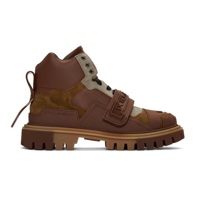 Dolce and Gabbana Brown Trekking Boots