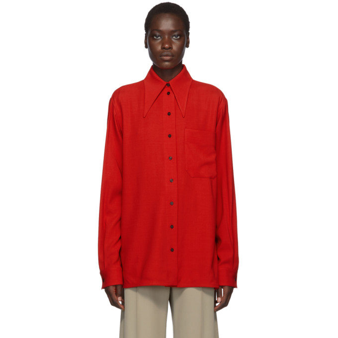 Kwaidan Editions Chemise en laine rouge Fluid 70s Collar