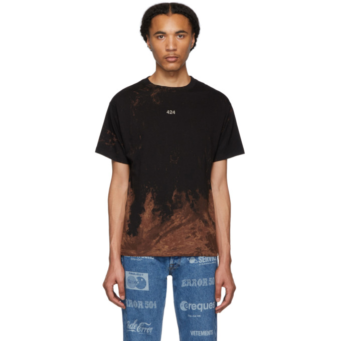 424 T-shirt a effet decolore noir Reworked
