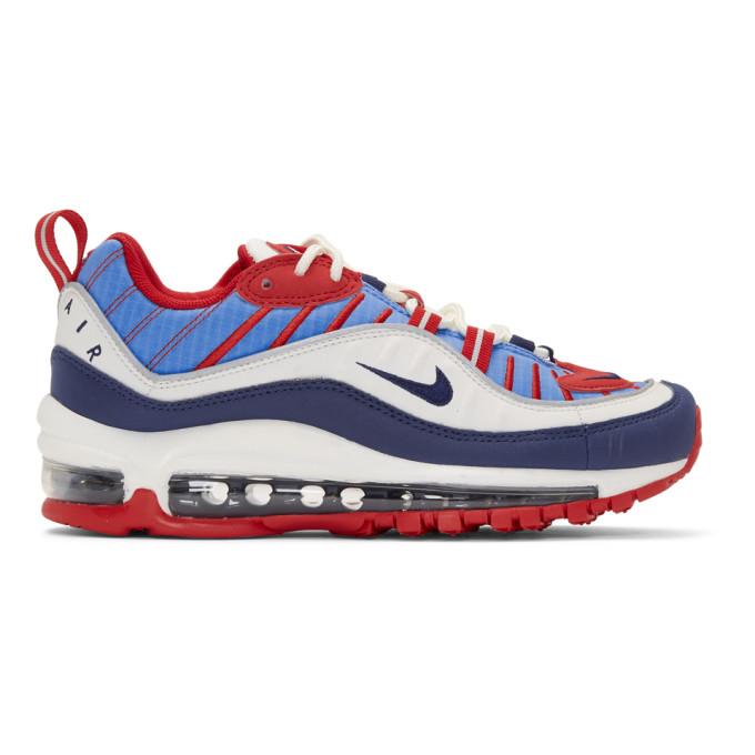NIKE | Nike White And Blue Air Max 98 Sneakers | Goxip