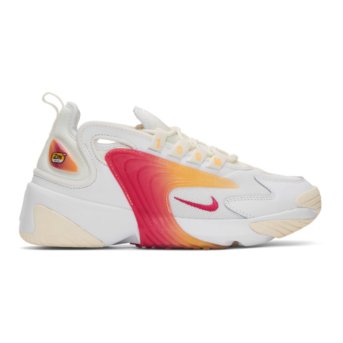 Nike White and Pink Zoom 2K Sneakers
