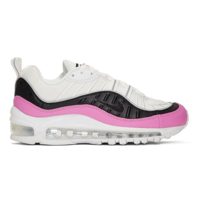 Nike White and Pink Air Max 98 SE Sneakers
