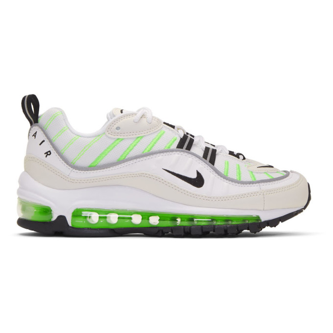 Nike White and Green Air Max 98 Sneakers