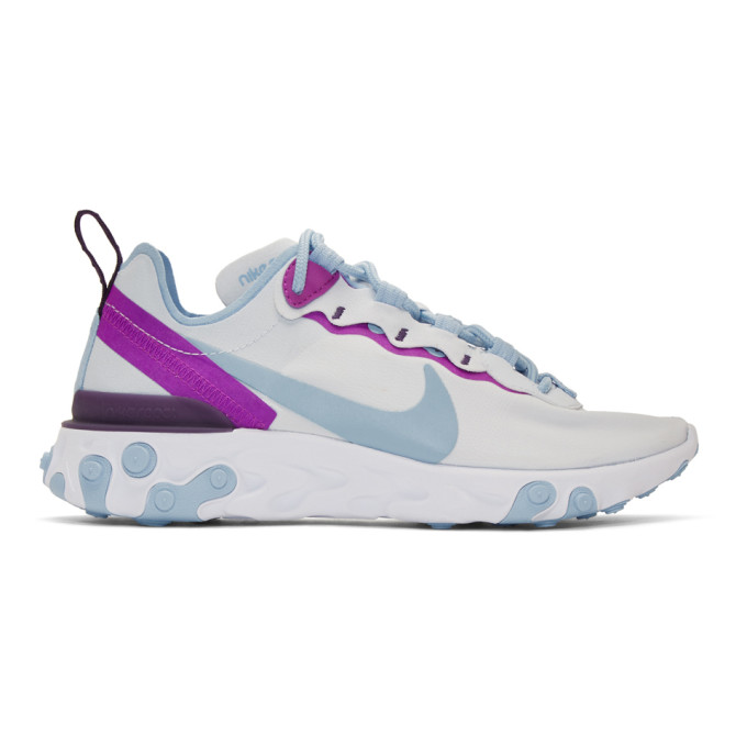 Nike Grey and Blue React Element 55 Sneakers