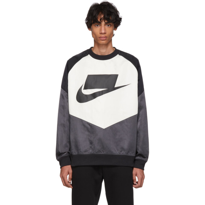 Nike Black And Off-white Nsw Windrunner Sweatshirt In 060anthblk