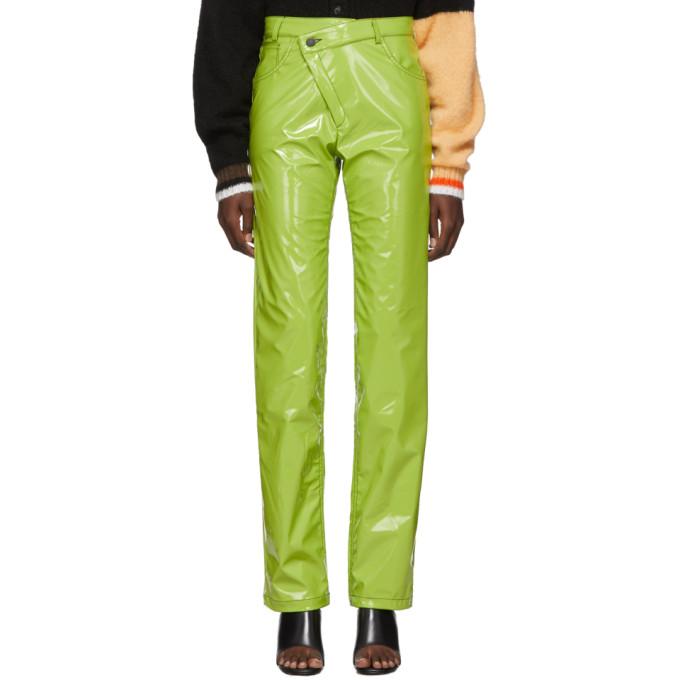 Ottolinger Pantalon vert Pleather Diagonal